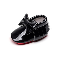 Classic Bow- Red Bottom Baby Moccasins