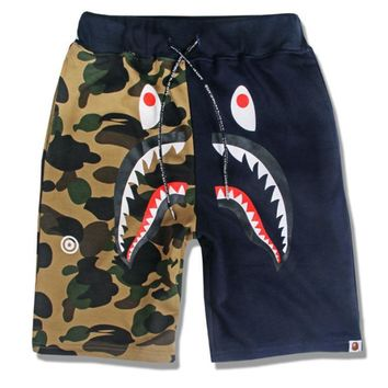 Men Casual Pants Men's Fashion Camouflage Print Beach Shorts [136013479955]