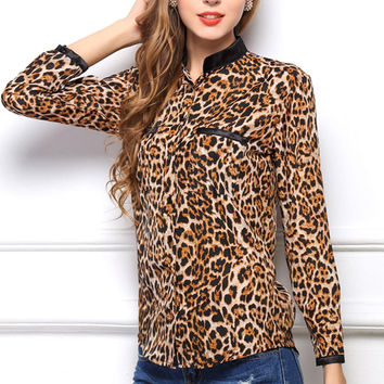 Leopard Print Long Sleeve Shirts