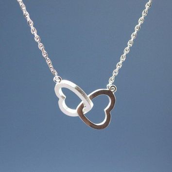 Infinity Hearts Necklace in Silver