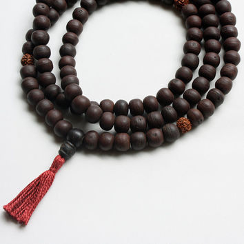 Dark Bodhiseed Mala Prayer Bead Necklace with Rudraksha Markers - Buddhist Rosary Necklace