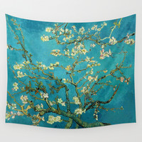 Vincent Van Gogh Blossoming Almond Tree Wall Tapestry by Art Gallery
