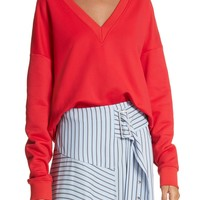 Tibi Draped V-Neck Sweatshirt | Nordstrom