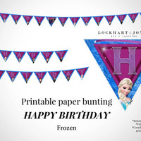 "FROZEN ""Happy Birthday"" Printable Party Bunting Banner *Instant Download*. Frozen party paper banner. Frozen Birthday Party Decoration."