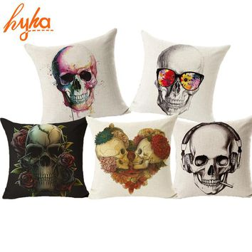 Skull Pillowcase Punk Skull Halloween Pillow Case Lovers Terror Crown Sugar Skull Skeleton 18x18 inches Throw Pillow Decorative