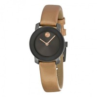 MOVADOBold Gunmetal Dial Peach Leather Ladies WatchItem No. 3600341
