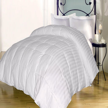 350 TC Damask Stripe Cotton Cover Down Alternative Comforter White