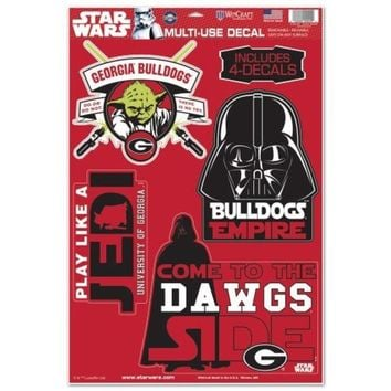 DCCKG8Q NCAA Georgia Bulldogs Darth Vader & Yoda Multi-Use Decal