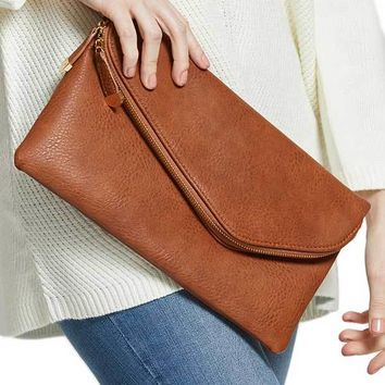 Urban Expressions Faux Leather Zipper Clutch