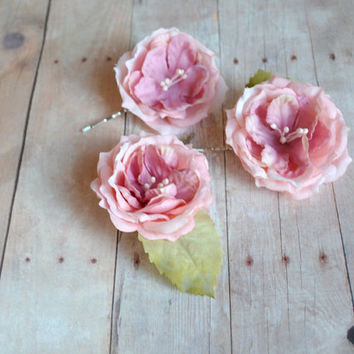 Rose hair pins, pink flower clips, whimsical floral clip, wedding hair piece, bridal hair accessories