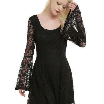 Black Lace Long Bell Sleeve Skater Dress