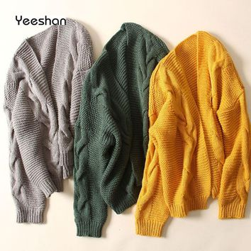 Yeeshan Crochet Jumper Women Twisted Cardigan Female Long Sleeves Yellow Green Grey Women Sweaters Knitted Sweater Cardigan