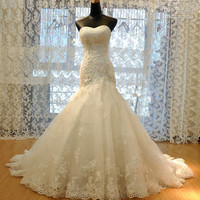 Custom Made Luxurious Croset Bodice Lace Top Quality Mermaid Wedding Dress 2016 Lace Wedding Gown mermaid wedding dresses