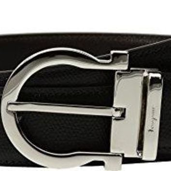 Salvatore Ferragamo  Men's Adjustable & Reversible Belt - 679781 Black/Hickory 40