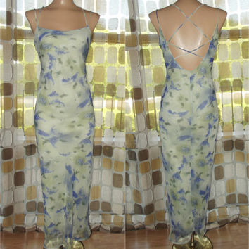 Vintage 90s Retro 30s Sheer Chiffon Watercolor Lilacs Art-Nouveau Bias Harlow Dress Sz. 7/8 Gatsby Criss Cross Back