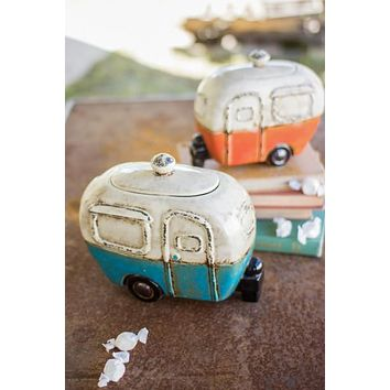 Set Of 2 Ceramic Camper Canisters