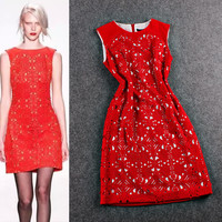 Red Sleeveless Eyelet Cutout Detail  Mini Dress