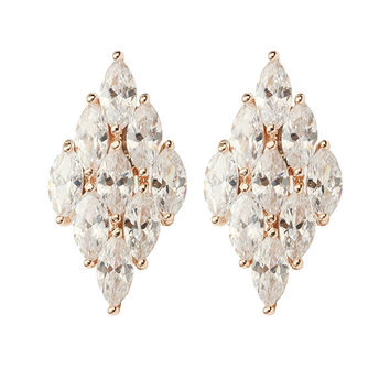 Small Exquisite Gold Plated Diamond Ear Stud Zircon Earrings