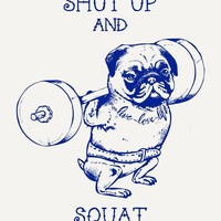 """Pug Squat"" - Art Print by Huebucket"