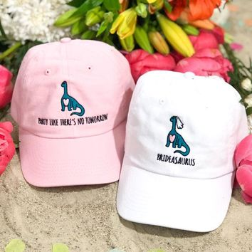 A-Roar-Able Dinosaur Brideasaurus & Party Like There's No Tomorrow Embroidered Dad Hats