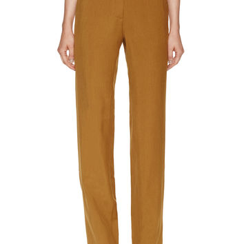 See by Chloe Women's Wool Flat Front Trouser - Dark Yellow -
