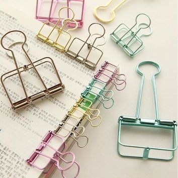 5pcs lot Gold Rose Red Pink Paper Clips De Papel Notes DIY Bookmark Office School & Office Supplies Binder