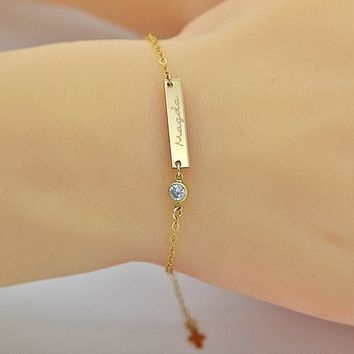 Best Personalized Gold Bar Bracelet Products on Wanelo 7177014ee