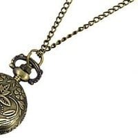 Como Ladies Arabic Numbers Scale Necklace Pocket Watch Bronze Tone