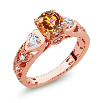 2.26 Ct Round Ecstasy Mystic Topaz 18K Rose Gold Plated Silver Ring