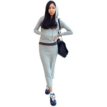 Casual Hooded Long Sleeve Pure Color Hoodie + Elastic Waist Slit Skirt Women's Twinset