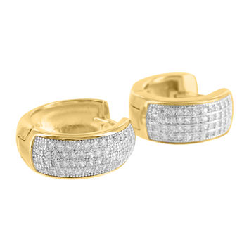 Lab Diamond Yellow Gold Finish Hoop Huggie Real 925 Silver Earrings