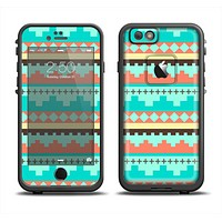 The Teal & Gold Tribal Ethic Geometric Pattern Apple iPhone 6 LifeProof Fre Case Skin Set