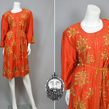 Vintage 70s Indian Cotton Orange Dress Gold Embroidery Beaded Hippy Dress Boho Dress Made in India Crystal Encrusted Bohemian Dress 1970s