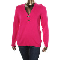 Charter Club Womens Plus Knit V-Neck Pullover Sweater