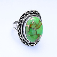 Big Solid Sterling Silver Green Turquoise stone ring,  Boho Bohemian Native stone silver ring, Green Turquoise ring, US Size 5 6 7 8 9 10