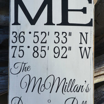 Personalized Wood Sign Latitude Longitude Family Name Home Decor Custom Wedding Gift Personalized Reclaimed Wood Signage Wall Decor Gift