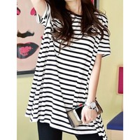 Casual Round Neck Striped Loose-Fitting Short Sleeve Women's T-Shirt