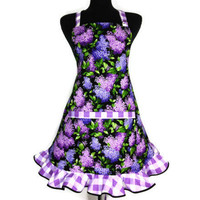 Lilac Kitchen Apron , Retro Floral / Flowers Decor , Full Adjustable with Pocket and Ruffle