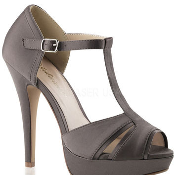 T-strap Grey Satin Peep Toe Pumps