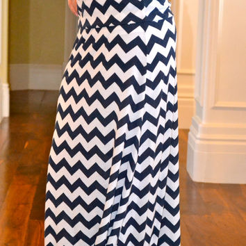 Chevron Maxi Skirt - Adjustable Womens Maxi - Navy and White Chevron Maxi Dress