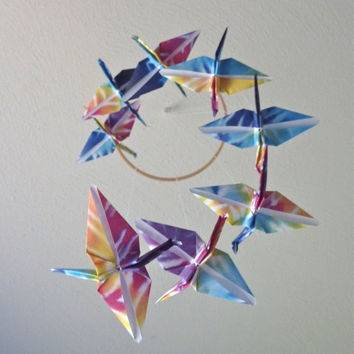 Unique Rainbow Tie Dye Birds Eco Friendly Origami Crane Mobile - Perfect for Nursery or Kids Bedroom