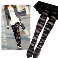 Stylish Fashion Women Sexy Pantyhose Black Ripped Stretch Vintage Tights Mock Stocking Quality