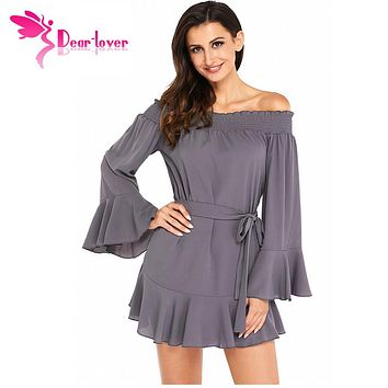 Dear Lover Women Autumn 2017 Sexy Ladies Off Shoulder Flare Long Sleeve Drop Hem Pleated Mini Dress Vestidos Mujer Fall LC220116