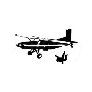 Skydiving Extreme Sports Car Stickers Fun Wall Home Glass Window Door Laptop Auto Truck Vinyl Decals Decor Black 18.0cmX10.0cm