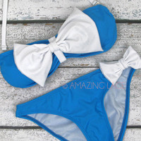Captain Gilligan Blue & White Sailor Bow Bikini