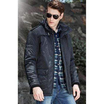 Men's Quilted Jacket Field Coat Windproof Coats Hooded Winter Jackets