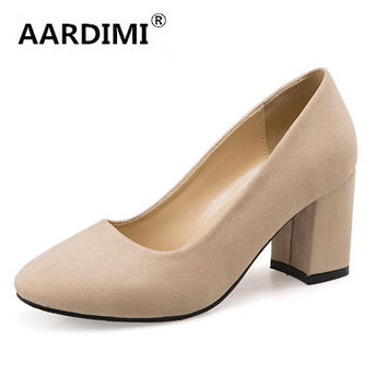 New 2017 solid soft leather women shoes high heels spring/autumn slip on round toe high heeled platform shoes women pumps