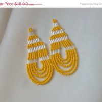 ON SALE Lemon Yellow Beaded Dangle Earrings, Loops - Gifts Under 20 - Yellow Statement, Bright