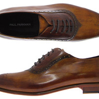 Paul Parkman Men's Medallion Toe Brown Brogue Oxford Shoes - Leather Upper & Leather Sole