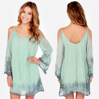 Green Off Shoulder Angel Sleeve Chiffon Mini Dress